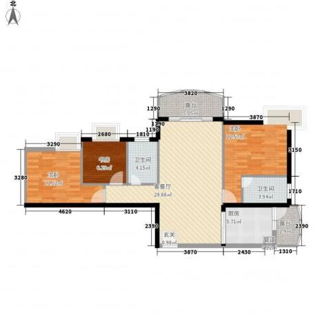 嘉辉豪庭3室1厅2卫1厨115.00㎡户型图