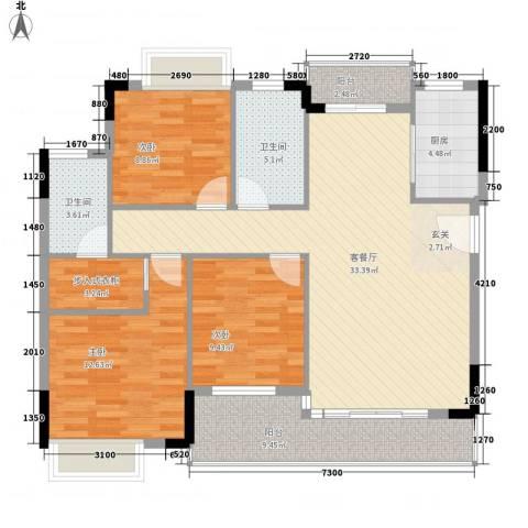 绿湖豪城3室1厅2卫1厨130.00㎡户型图