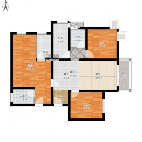 东尚蜂鸟3室1厅2卫2厨122.00㎡户型图
