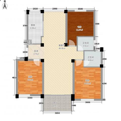 新港名兴花园3室1厅2卫1厨125.00㎡户型图