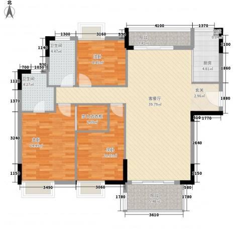 绿湖豪城3室1厅2卫1厨138.00㎡户型图