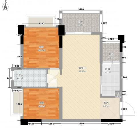 正德天水湖2室1厅1卫1厨78.00㎡户型图