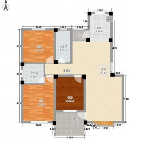 新港名兴花园3室1厅2卫0厨127.00㎡户型图