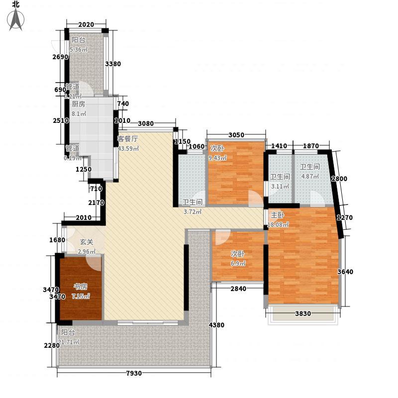 半山海景兰溪谷二期户型图四房-户型五 4室2厅2卫1厨