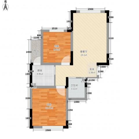 怡众名城2室1厅1卫1厨78.00㎡户型图