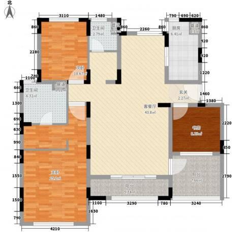久事西郊花园3室1厅2卫1厨134.40㎡户型图