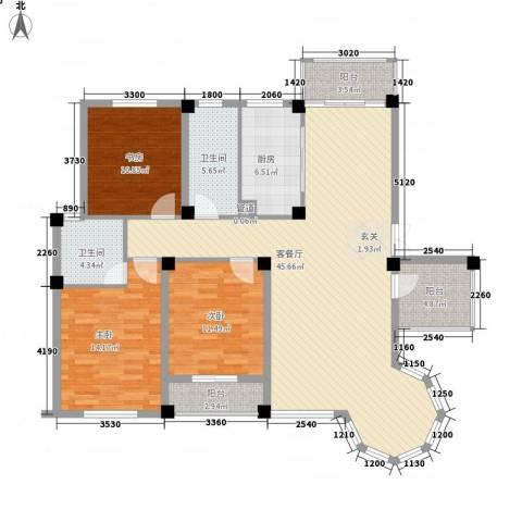 新港名兴花园3室1厅2卫1厨140.00㎡户型图