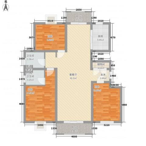 汇龙国际花园3室1厅2卫1厨143.00㎡户型图