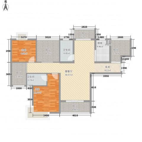 景隆现代城2室1厅2卫1厨117.00㎡户型图