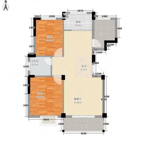 越通美院2室1厅1卫1厨107.00㎡户型图