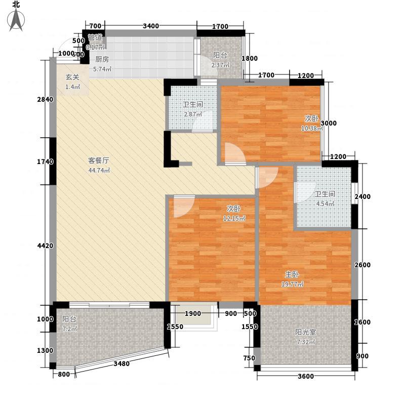 天池山116.17㎡5期3+1房2厅2卫1户型3室2厅2卫1厨