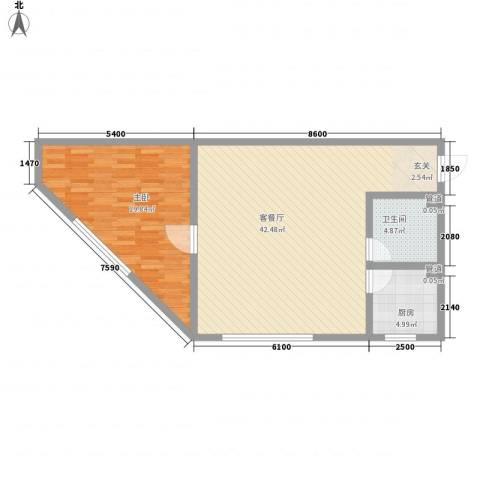 怡众名城1室1厅1卫1厨90.00㎡户型图