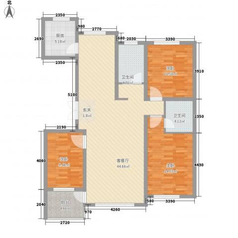 怡众名城3室1厅2卫1厨129.00㎡户型图