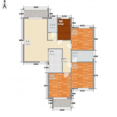 国骅东方湾邸4室1厅2卫1厨143.00㎡户型图