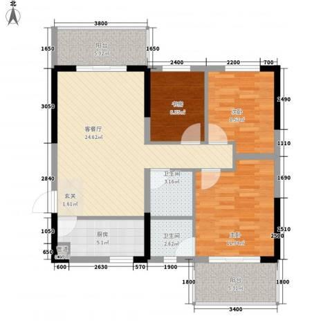 高科花漾年华3室1厅2卫1厨104.00㎡户型图