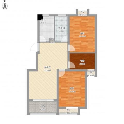 盘城新居3室1厅1卫1厨104.00㎡户型图