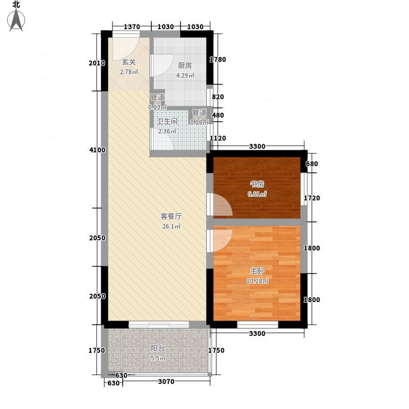 高科花漾年华一期一栋标准层D户型2室2厅1卫1厨