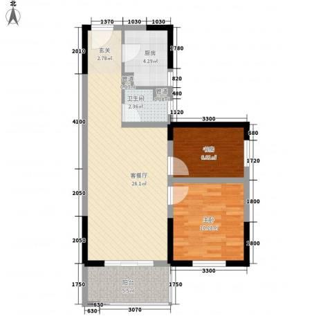 高科花漾年华2室1厅1卫1厨80.00㎡户型图