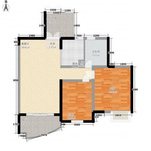 世纪城龙锦苑2室1厅1卫1厨108.00㎡户型图
