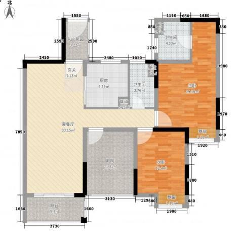 石排国际公馆2室1厅2卫1厨107.00㎡户型图