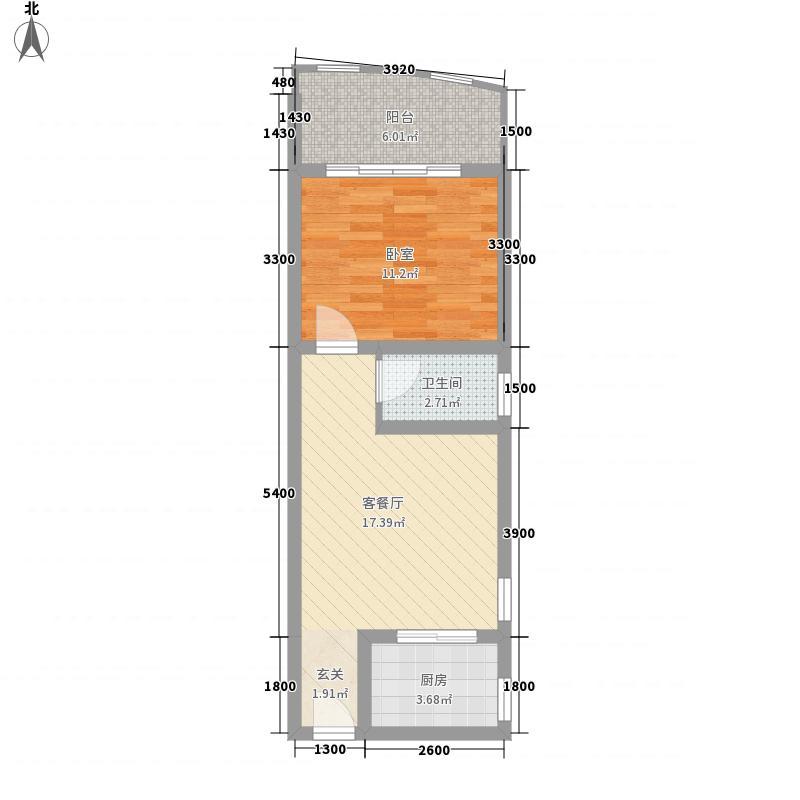 鑫金现代城52.40㎡J户型1室1厅1卫1厨