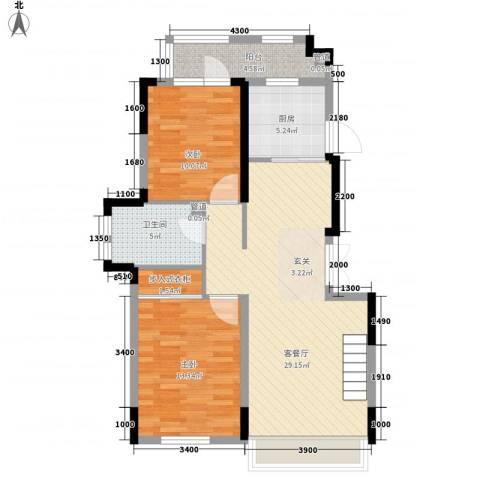 藏珑16202室1厅1卫1厨85.00㎡户型图