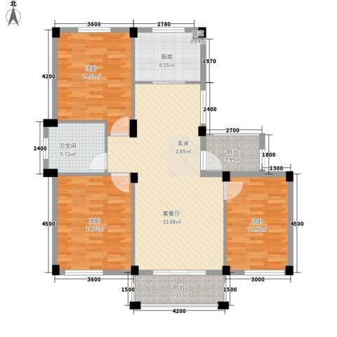 越通美院3室1厅1卫1厨132.00㎡户型图