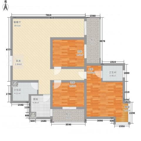 娱乐城3室1厅2卫1厨142.00㎡户型图