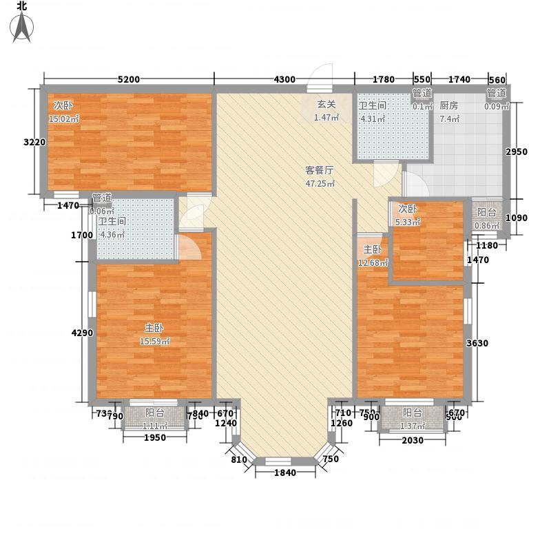 珠江罗马嘉园二期户型3室2厅3卫1厨
