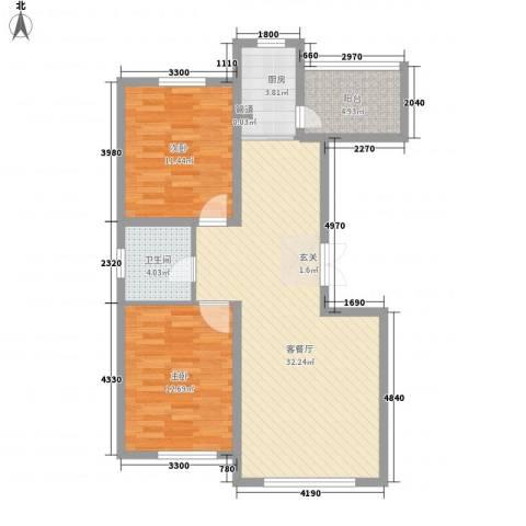 怡众名城2室1厅1卫1厨95.00㎡户型图