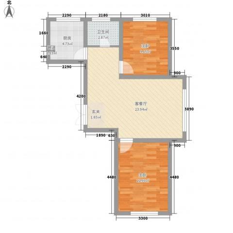 怡众名城2室1厅1卫1厨81.00㎡户型图