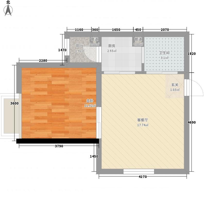 金湖公寓58.11㎡J(已售完)户型1室1厅1卫