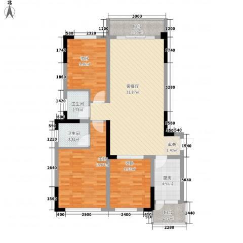 阳光城3室1厅2卫1厨83.54㎡户型图