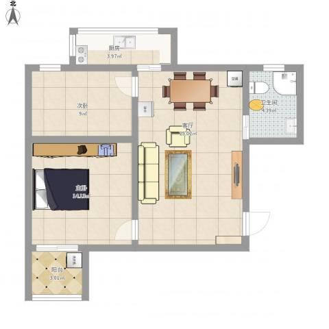 文泰康城2室1厅1卫1厨80.00㎡户型图