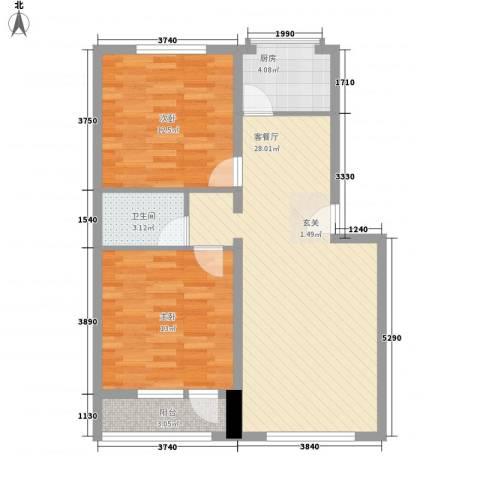 正安花园2室1厅1卫1厨90.00㎡户型图
