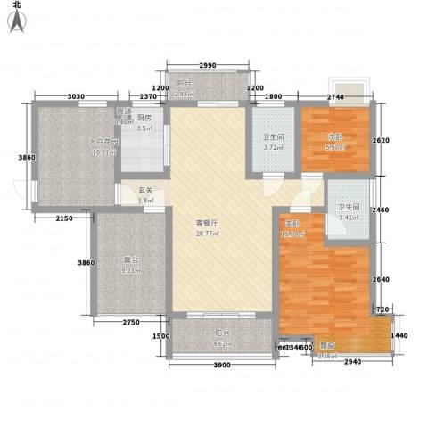 富盈香茶郡2室1厅2卫1厨98.00㎡户型图