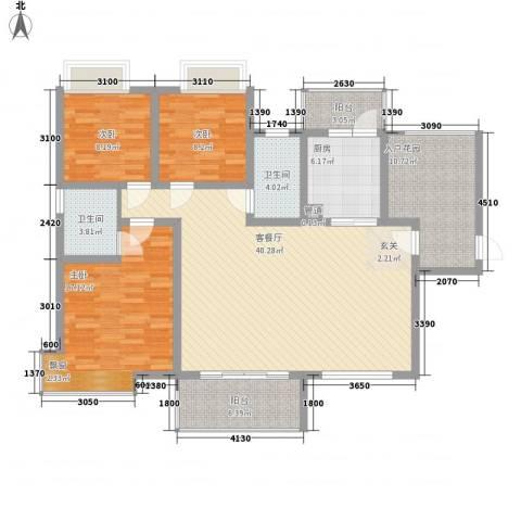 富盈香茶郡3室1厅2卫1厨124.00㎡户型图