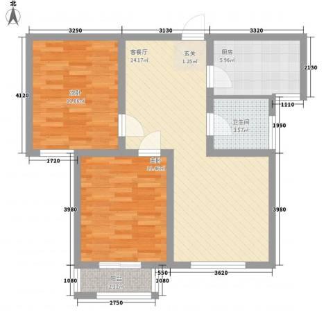 东海社区2室1厅1卫1厨86.00㎡户型图