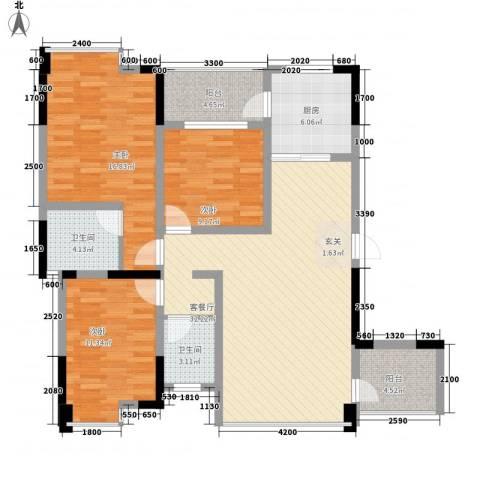 阳光城3室1厅2卫1厨118.00㎡户型图