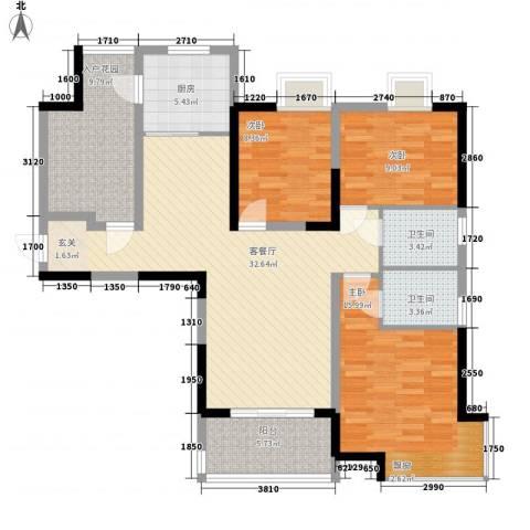 娱乐城3室1厅2卫1厨134.00㎡户型图