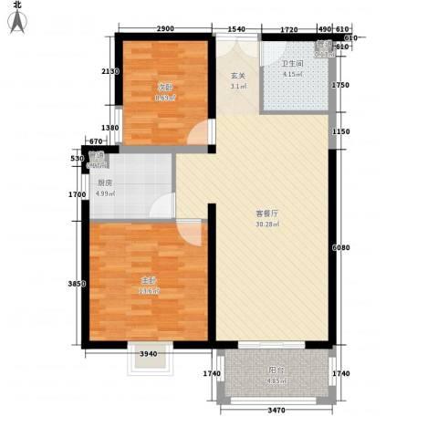 太原奥林匹克花园2室1厅1卫1厨95.00㎡户型图