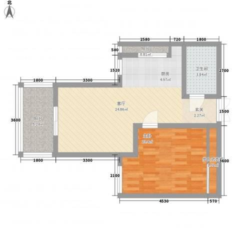 双河二村1室1厅1卫0厨49.46㎡户型图