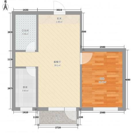 今都小区1室1厅1卫1厨57.00㎡户型图