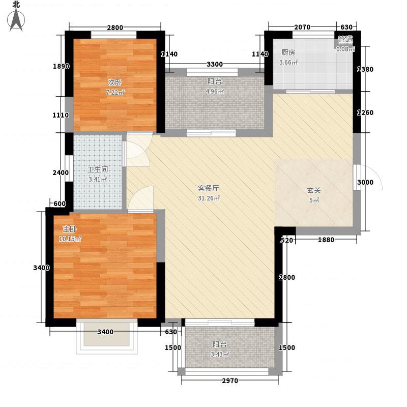 天地湾2室1厅1卫1厨64.17㎡户型图