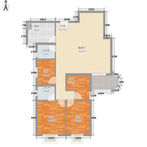 天一名居4室1厅2卫1厨129.00㎡户型图