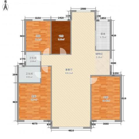 山海一家二期4室1厅2卫1厨184.00㎡户型图