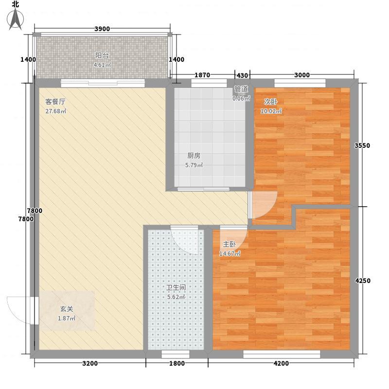 御景园小区2室2厅3户型2室2厅1卫1厨