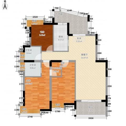贵都花园3室1厅2卫1厨143.00㎡户型图