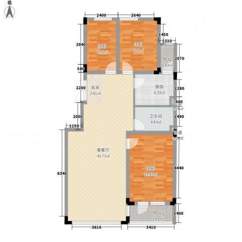 亿洲百旺郦城3室1厅1卫1厨120.00㎡户型图