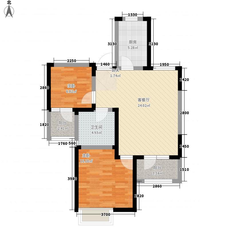 中筑蓝湾铭都2室1厅1卫1厨86.00㎡户型图